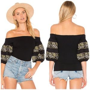 NWT Free People Off The Shoulder Embroidered Top